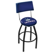 L8B4 - Black Wrinkle Connecticut Swivel Bar Stool with a Back by Holland Bar Stool Company