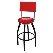 L8B4 - Black Wrinkle Detroit Red Wings Swivel Bar Stool with a Back by Holland Bar Stool Company