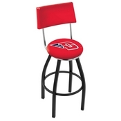 L8B4 - Black Wrinkle University of Dayton Swivel Bar Stool with a Back by Holland Bar Stool Company