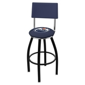L8B4 - Black Wrinkle Edmonton Oilers Swivel Bar Stool with a Back by Holland Bar Stool Company
