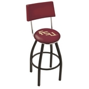 L8B4 - Black Wrinkle Florida State (Script) Swivel Bar Stool with a Back by Holland Bar Stool Company