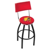 L8B4 - Black Wrinkle Ferris State Swivel Bar Stool with a Back by Holland Bar Stool Company
