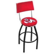 L8B4 - Black Wrinkle Fresno State Swivel Bar Stool with a Back by Holland Bar Stool Company