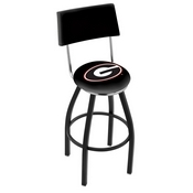 L8B4 - Black Wrinkle Georgia G Swivel Bar Stool with a Back by Holland Bar Stool Company