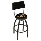 L8B4 - Black Wrinkle Georgia Tech Swivel Bar Stool with a Back by Holland Bar Stool Company