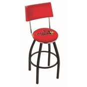 L8B4 - Black Wrinkle Illinois State Swivel Bar Stool with a Back by Holland Bar Stool Company