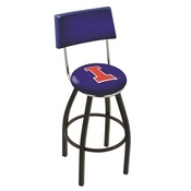 L8B4 - Black Wrinkle Illinois Swivel Bar Stool with a Back by Holland Bar Stool Company