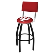 L8B4 - Black Wrinkle Indiana Swivel Bar Stool with a Back by Holland Bar Stool Company