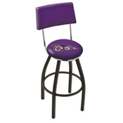 L8B4 - Black Wrinkle James Madison Swivel Bar Stool with a Back by Holland Bar Stool Company