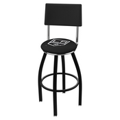 L8B4 - Black Wrinkle Los Angeles Kings Swivel Bar Stool with a Back by Holland Bar Stool Company