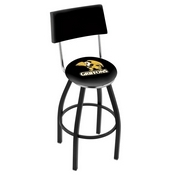 L8B4 - Black Wrinkle Missouri Western State Swivel Bar Stool with a Back by Holland Bar Stool Company