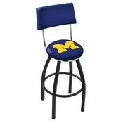 L8B4 - Black Wrinkle Michigan Swivel Bar Stool with a Back by Holland Bar Stool Company