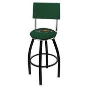 L8B4 - Black Wrinkle Minnesota Wild Swivel Bar Stool with a Back by Holland Bar Stool Company