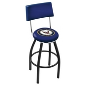 L8B4 - Black Wrinkle U.S. Navy Swivel Bar Stool with a Back by Holland Bar Stool Company