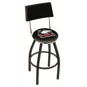 L8B4 - Black Wrinkle Northern Illinois Swivel Bar Stool with a Back by Holland Bar Stool Company