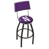 L8B4 - Black Wrinkle Northwestern Swivel Bar Stool with a Back by Holland Bar Stool Company