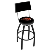 L8B4 - Black Wrinkle Oregon State Swivel Bar Stool with a Back by Holland Bar Stool Company