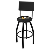 L8B4 - Black Wrinkle Pittsburgh Penguins Swivel Bar Stool with a Back by Holland Bar Stool Company