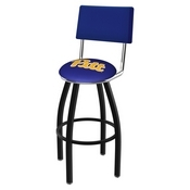 L8B4 - Black Wrinkle Pitt Swivel Bar Stool with a Back by Holland Bar Stool Company