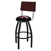 L8B4 - Black Wrinkle Southern Illinois Swivel Bar Stool with a Back by Holland Bar Stool Company