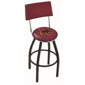 L8B4 - Black Wrinkle Texas State Swivel Bar Stool with a Back by Holland Bar Stool Company