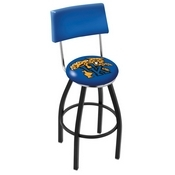 L8B4 - Black Wrinkle Kentucky Wildcat Swivel Bar Stool with a Back by Holland Bar Stool Company