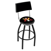 L8B4 - Black Wrinkle Virginia Military Institute Swivel Bar Stool with a Back by Holland Bar Stool Company