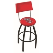 L8B4 - Black Wrinkle Wisconsin Badger Swivel Bar Stool with a Back by Holland Bar Stool Company