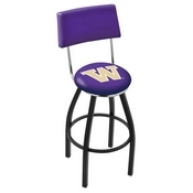 L8B4 - Black Wrinkle Washington Swivel Bar Stool with a Back by Holland Bar Stool Company