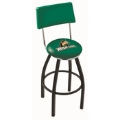 L8B4 - Black Wrinkle Wright State Swivel Bar Stool with a Back by Holland Bar Stool Company