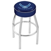 L8C1 - 4 U.S. Air Force Cushion Seat with Chrome Base Swivel Bar Stool by Holland Bar Stool Company