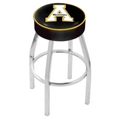 L8C1 - 4 Appalachian State Cushion Seat with Chrome Base Swivel Bar Stool by Holland Bar Stool Company