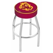 L8C1 - 4 Arizona State Cushion Seat with Chrome Base Swivel Bar Stool and Sparky Logo by Holland Bar Stool Company