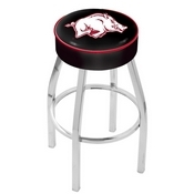 L8C1 - 4 Arkansas Cushion Seat with Chrome Base Swivel Bar Stool by Holland Bar Stool Company