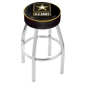 L8C1 - 4 U.S. Army Cushion Seat with Chrome Base Swivel Bar Stool by Holland Bar Stool Company