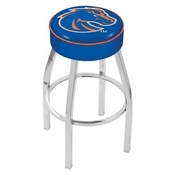 L8C1 - 4 Boise State Cushion Seat with Chrome Base Swivel Bar Stool by Holland Bar Stool Company