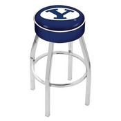 L8C1 - 4 Brigham Young Cushion Seat with Chrome Base Swivel Bar Stool by Holland Bar Stool Company