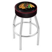 L8C1 - 4 Chicago Blackhawks Cushion Seat with Chrome Base Swivel Bar Stool by Holland Bar Stool Company