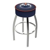 L8C1 - 4 Edmonton Oilers Cushion Seat with Chrome Base Swivel Bar Stool by Holland Bar Stool Company