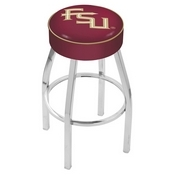 L8C1 - 4 Florida State (Script) Cushion Seat with Chrome Base Swivel Bar Stool by Holland Bar Stool Company