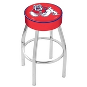 L8C1 - 4 Fresno State Cushion Seat with Chrome Base Swivel Bar Stool by Holland Bar Stool Company