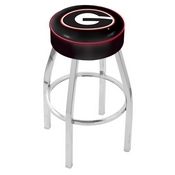 L8C1 - 4 Georgia G Cushion Seat with Chrome Base Swivel Bar Stool by Holland Bar Stool Company