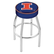 L8C1 - 4 Illinois Cushion Seat with Chrome Base Swivel Bar Stool by Holland Bar Stool Company