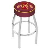 L8C1 - 4 Iowa State Cushion Seat with Chrome Base Swivel Bar Stool by Holland Bar Stool Company