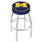 L8C1 - 4 Michigan Cushion Seat with Chrome Base Swivel Bar Stool by Holland Bar Stool Company