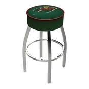 L8C1 - 4 Minnesota Wild Cushion Seat with Chrome Base Swivel Bar Stool by Holland Bar Stool Company