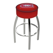 L8C1 - 4 Montreal Canadiens Cushion Seat with Chrome Base Swivel Bar Stool by Holland Bar Stool Company