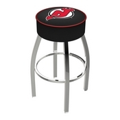 L8C1 - 4 New Jersey Devils Cushion Seat with Chrome Base Swivel Bar Stool by Holland Bar Stool Company