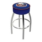 L8C1 - 4 New York Islanders Cushion Seat with Chrome Base Swivel Bar Stool by Holland Bar Stool Company