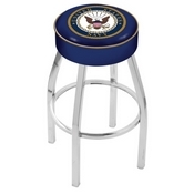 L8C1 - 4 U.S. Navy Cushion Seat with Chrome Base Swivel Bar Stool by Holland Bar Stool Company